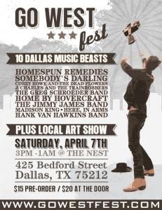 Go West Fest April 7 at The nest